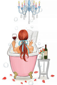 Illustration from behind of a girl with red hair tied in a blue bow sitting in a bathtub with a glass of wine while reading a book under a chandelier with flower petals on the floor