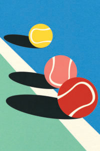 Graphic of one yellow, one pink, and one red tennis ball on a tennis court floor