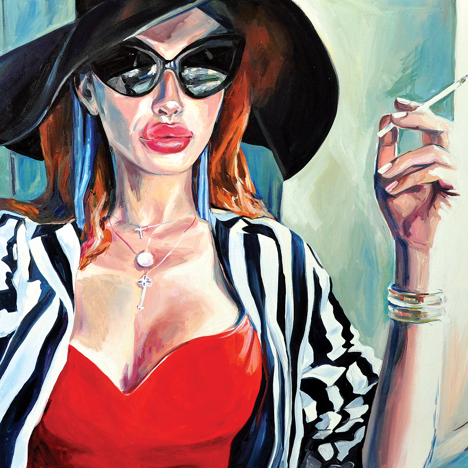 Woman with red hair and cat-eye sunglasses and a floppy black hat and striped blazer smoking a cigarette
