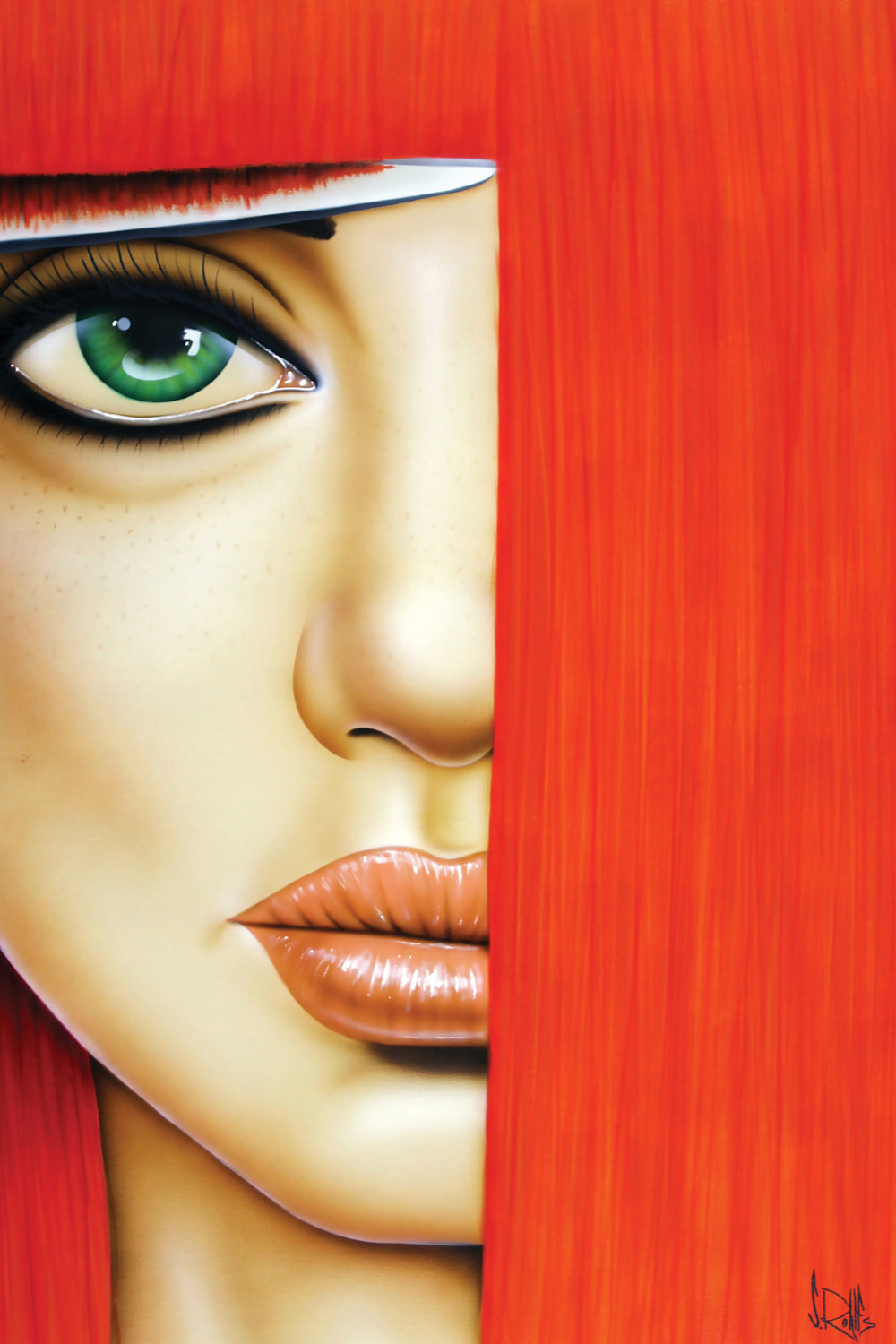 Image of a woman's face with bright red hair and green eyes cutting her bangs with scissors