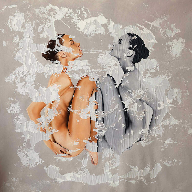 """Serenitatem"" by Raúl Lara shows two women, one in color and one in black and white, mirroring one another in a fetal-like position with their hands on their back."
