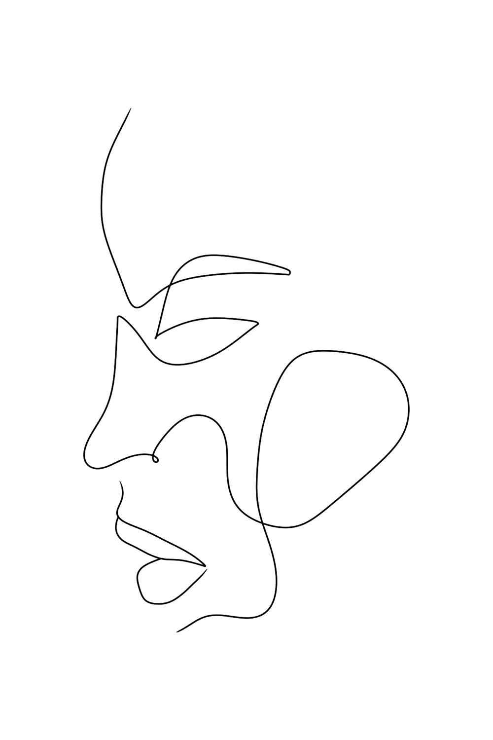 Minimalist line illustration of the profile of a face