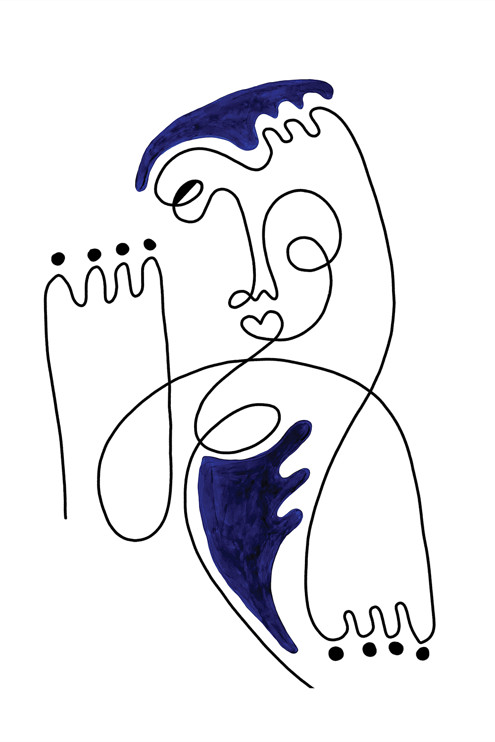 Minimalist abstract line illustration of a face and two hands with blue shapes around it