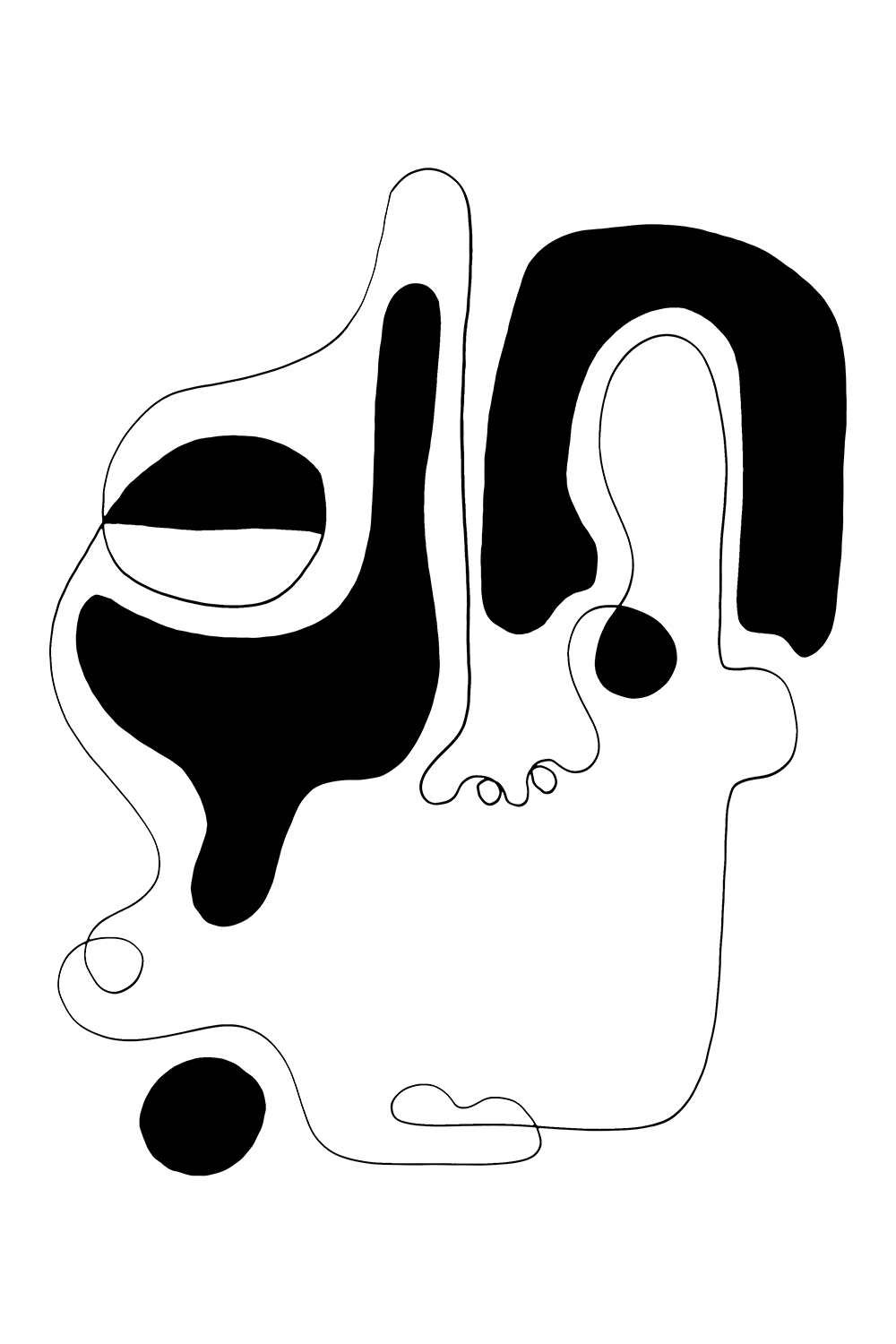 Minimalist line illustration of an abstract portrait