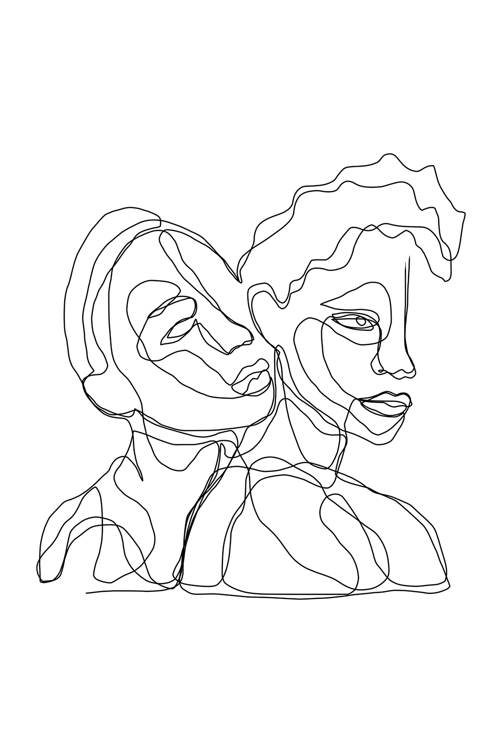 Minimalist line illustration of two people with one person leaning on the other