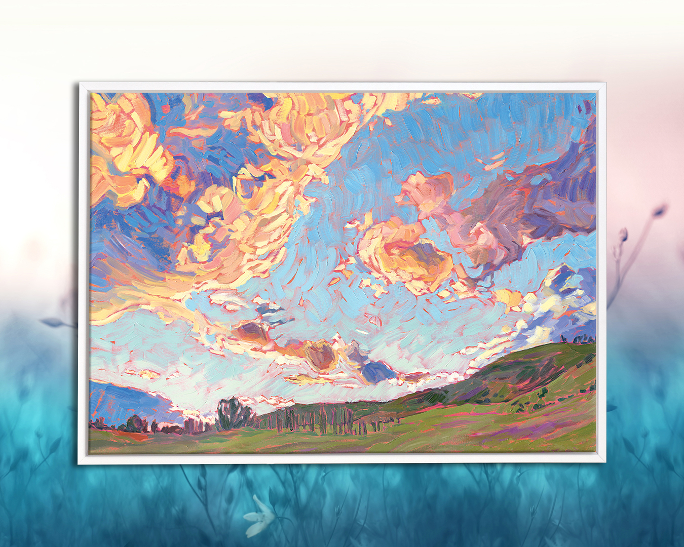 """Sky Wide Open"" by Jessica Johnson shows a cloud sunset over the farmland of Rogue Valley"