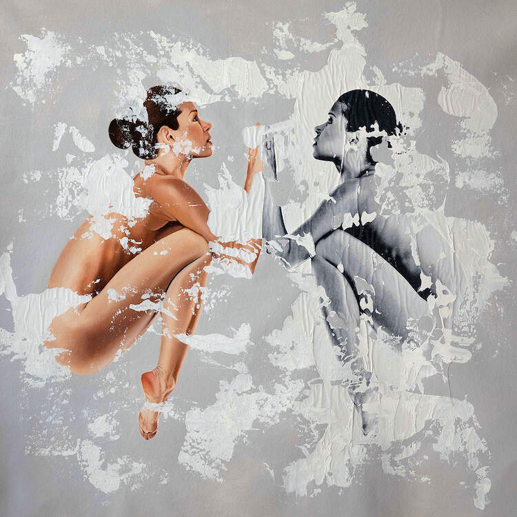 """Speculum"" by Raúl Lara shows two women, one in black and white and one in color, mirroring one another in a fetal-like position while touching elbows"