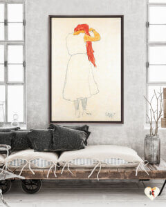 Illustration of redhead standing while combing her hair framed in wood on a wall in white room with grey throw pillows and a platform bed