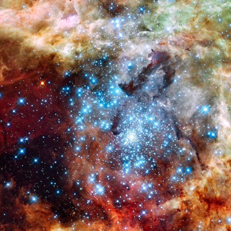 Photo of a cluster of bright blue star surrounded by colorful gases in space