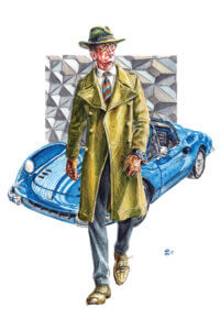 Illustration of a man in a hat and trench coat walking in front of a blue vintage car