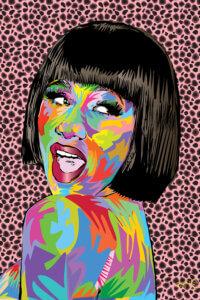Multi-colored graphic of portrait of Cardi B.