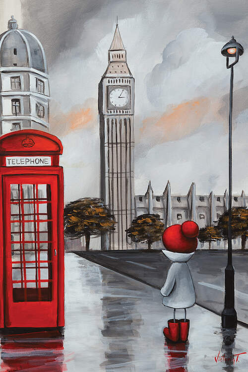 Illustration of a little person wearing a red hat and red boots on a street in London next to a red telephone booth near Big Ben