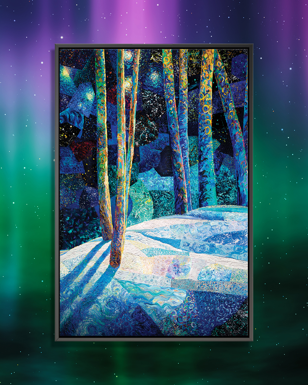 """""""The Ion, The Stitch, and The Windows"""" by Iris Scott shows long tree branches in front of multicolored rock-like figures."""