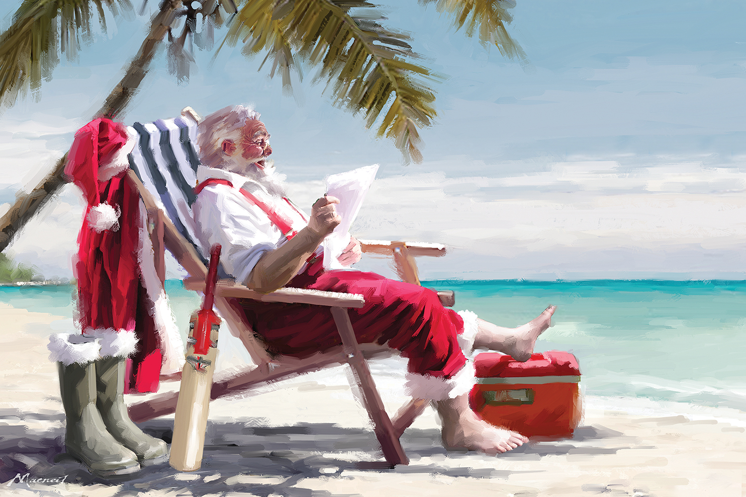 Santa Claus sitting on a chair on the beach barefoot reading a list