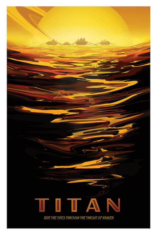 Minimalist vintage-inspired travel poster for Titan showing the horizon of Saturn and waves of an ocean with boats on Titan