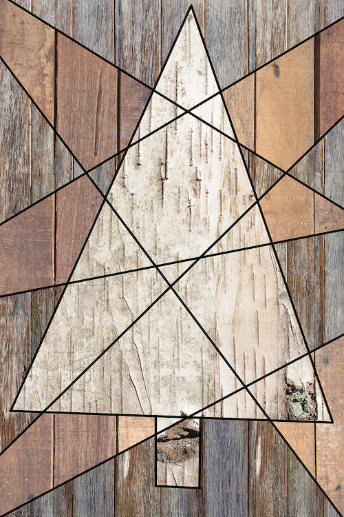 Wood textured image of a triangular Christmas tree