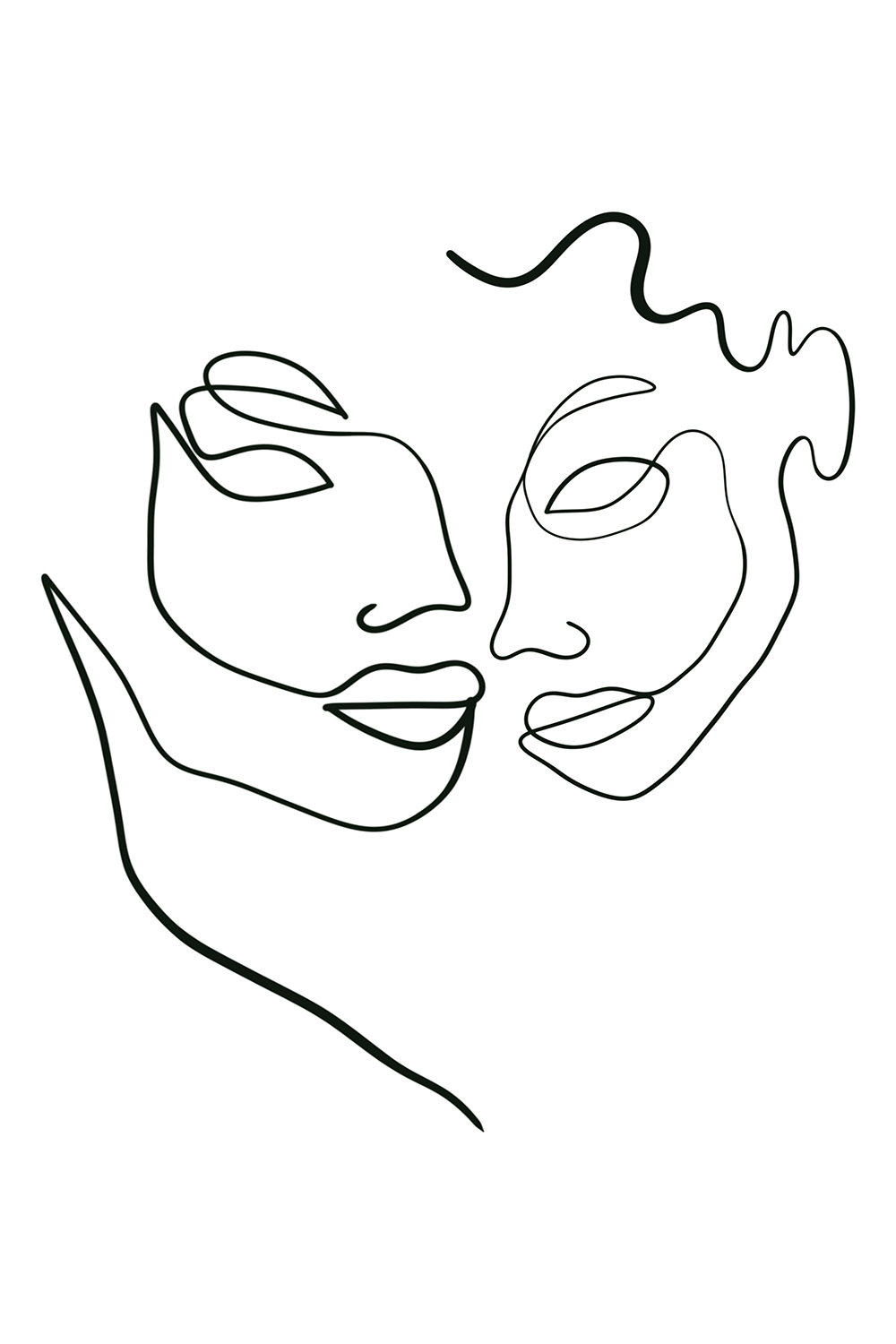 Minimalist line illustration of two faces intertwined