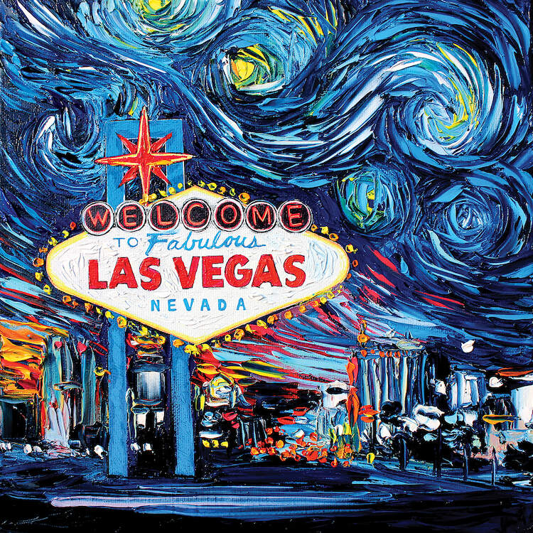 Textured painting of Las Vegas welcome sign overlooking the city underneath a sky that looks like Starry Night