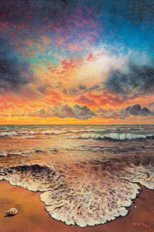 Landscape of a multicolored dusky sky over a sea shore with waves flowing in and a sea shell on the sand