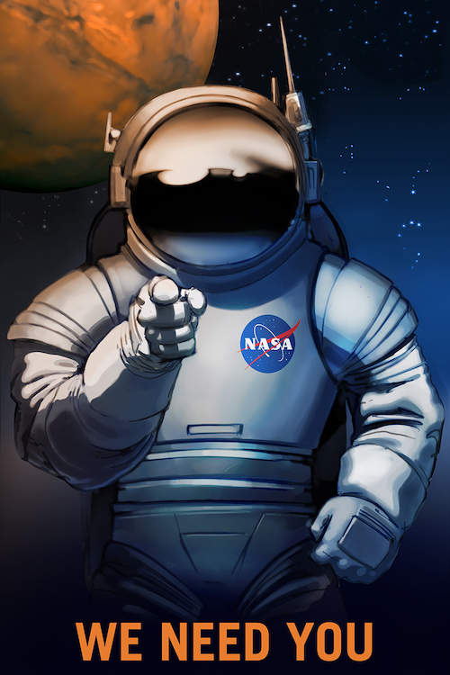 """Poster inspired by Uncle Sam with an astronaut pointing with text that says """"We Need You"""" in space with a planet in the background"""