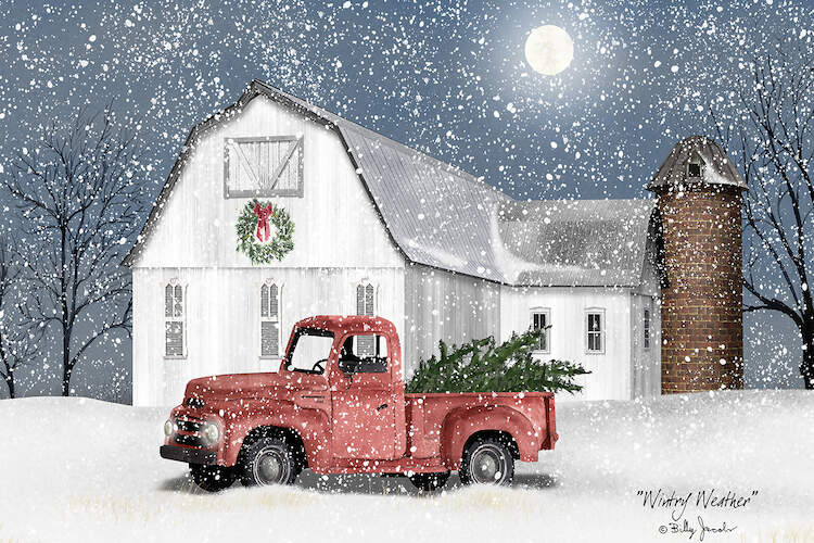 Winter scene with snow falling over a white barn with a wreath hanging on the front and a red truck with Christmas trees in the back next to it
