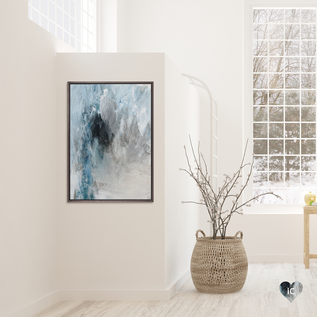 """""""Winter Wonderland I"""" by PI Studio shows a gray, blue, and white abstraction."""