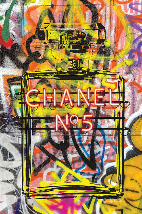 A colorful graffiti image of a Chanel No. 5 perfume bottle on a concrete-like texture