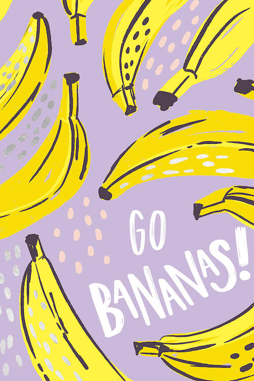 """Illustrations of bananas over a light purple background with white text that says """"Go Bananas!"""""""