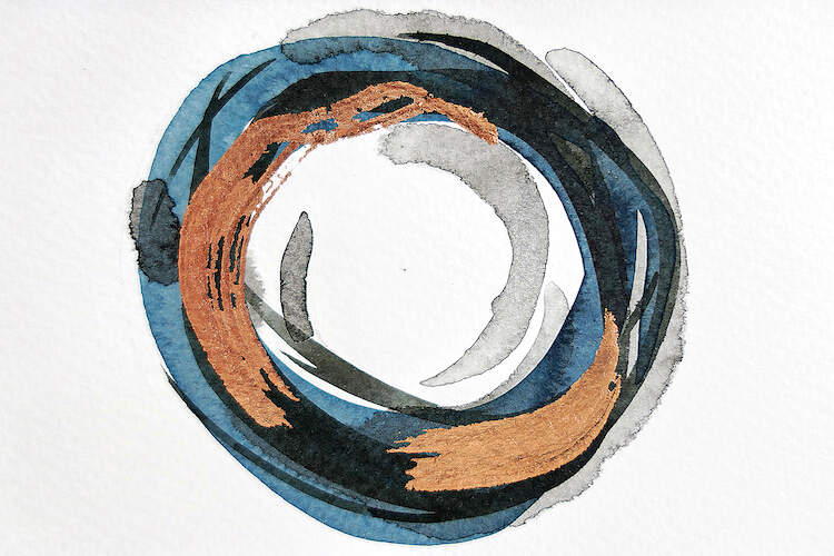 A cluster of circular paint strokes in blue, copper, and black on a linen textured white background