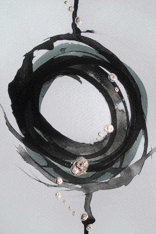 A cluster of circular, dripping paint brush strokes in shades of black and silver on a linen textured white background