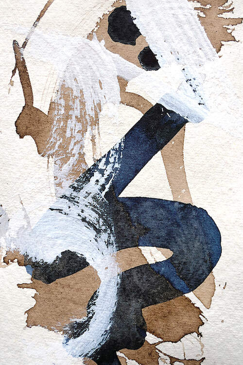 An abstract formation of thick paint brush strokes in white, indigo, and walnut-brown on a linen textured white background