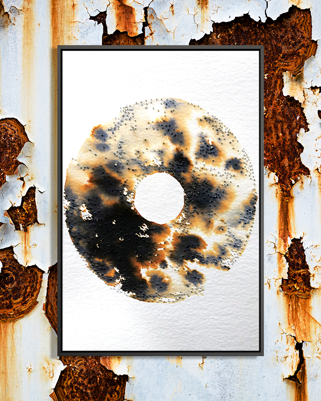 An abstract, disc-like shape with a rusted or burnt texture in black and brown on a white background