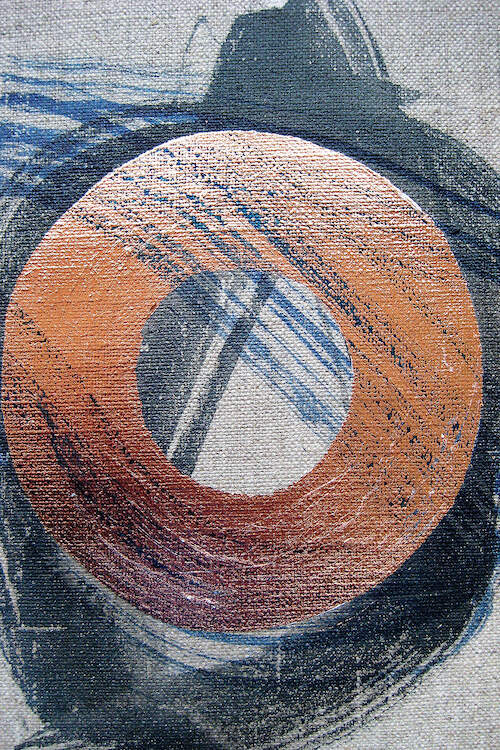 An abstract formation of a disc-like paint stroke in metallic copper surrounded by black and indigo paint strokes across and underneath it on a linen textured gray background