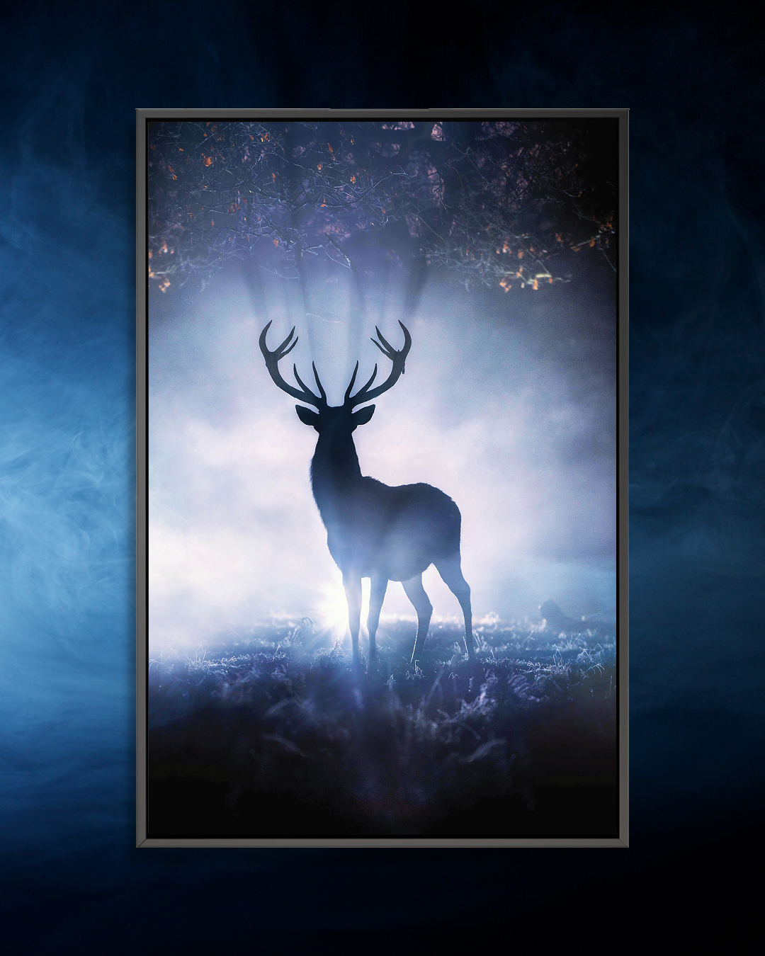 """""""Cernunnos Rising"""" by Max Ellis shows the silhouette of a stag glowing from a light in the nighttime."""