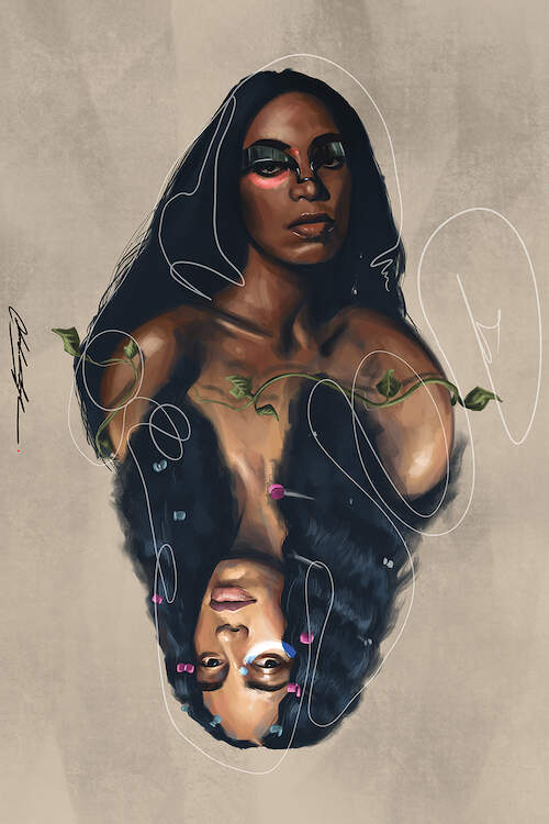 """A Seat At The Table When I Get Home"" by Chuck Styles shows a mirrored image of Solange Knowles with the top image wrapped in ivy and the bottom image featuring bow-like objects in her hair."