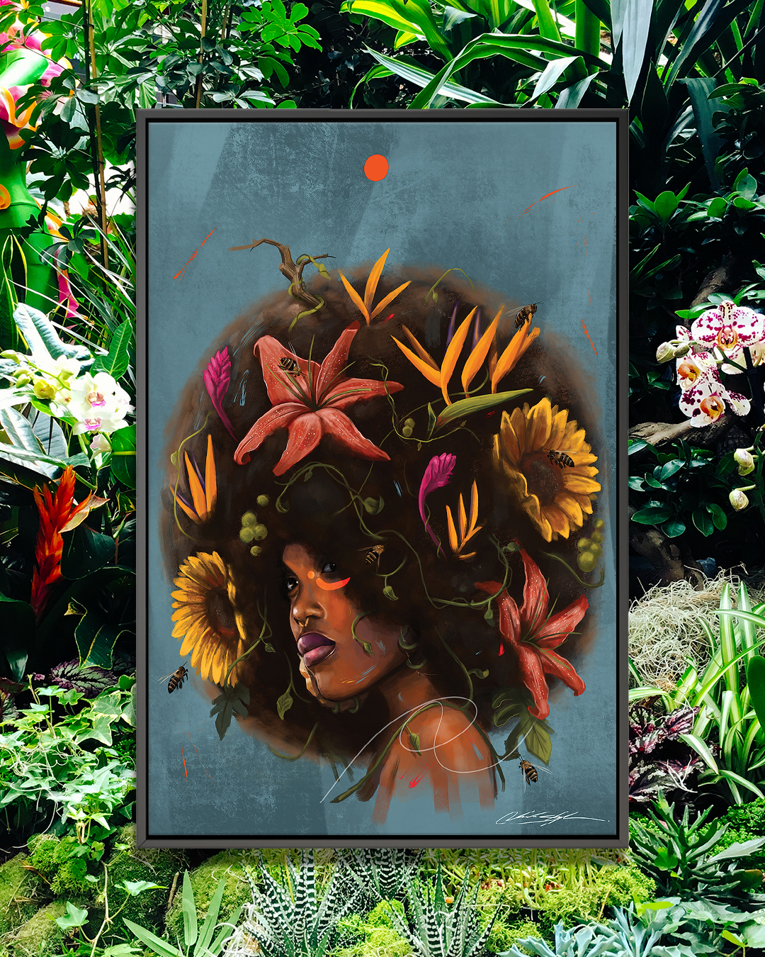 """Cocoa Butter Blossoms"" by Chuck Styles shows a woman with sunflowers and foliage in her afro while bees fly around her."