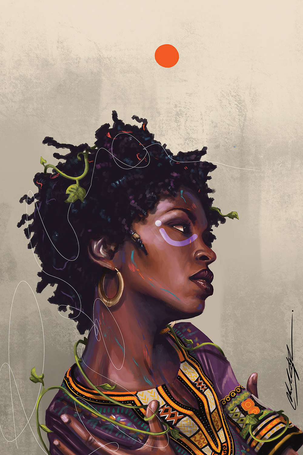 """Ms Lauryn Zion"" by Chuck Styles shows the profile of American singer Lauryn Hill wearing an Afrocentric top with ivy wrapped around her body."