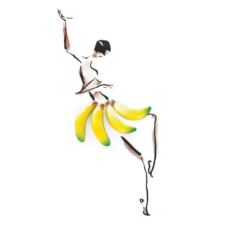 Line illustration of a woman dancing wearing skirt made of real bananas