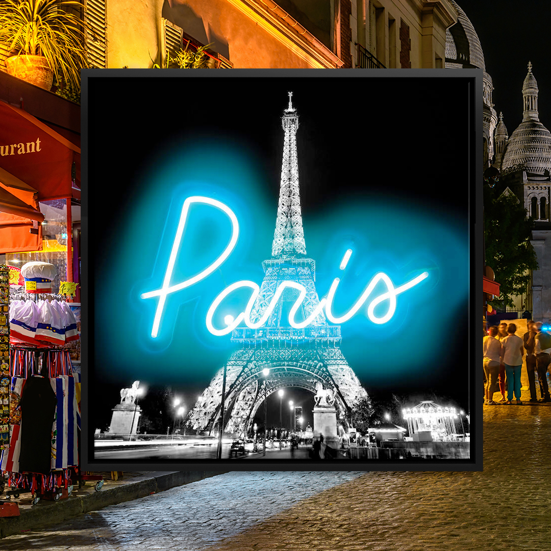 """Black and white image of the Eiffel Tower lit up at night with neon blue text overlaid that says """"Paris"""""""