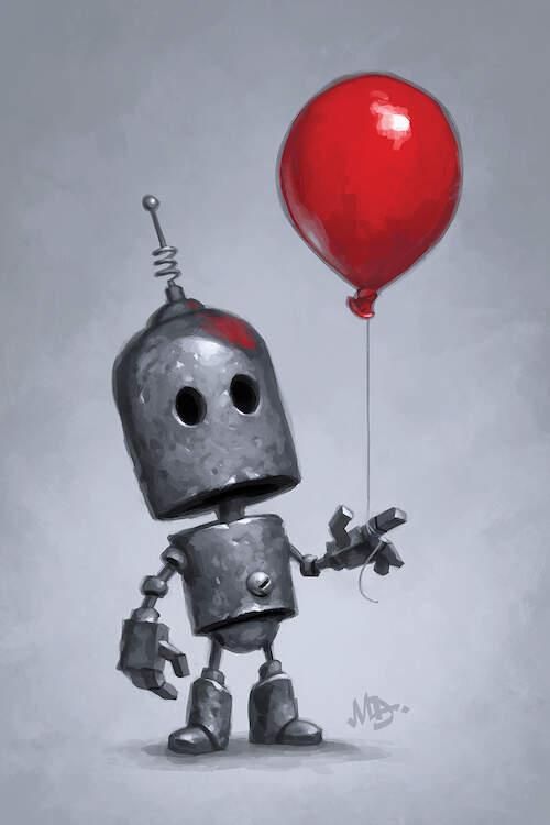 """""""The Red Balloon"""" by Matt Dixon shows an aluminum robot holding a red balloon."""