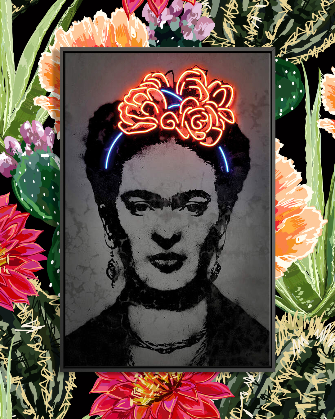 Black and white portrait of Frida Kahlo wearing a neon-lit flower crown over a floral background