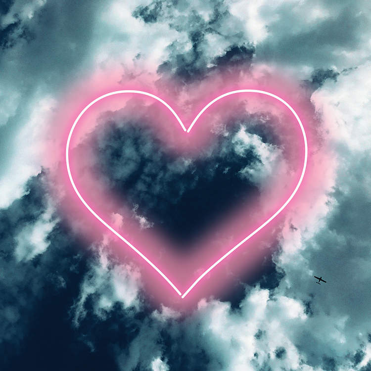 Image of a dark blue sky with white clouds and a neon pink heart laid over it
