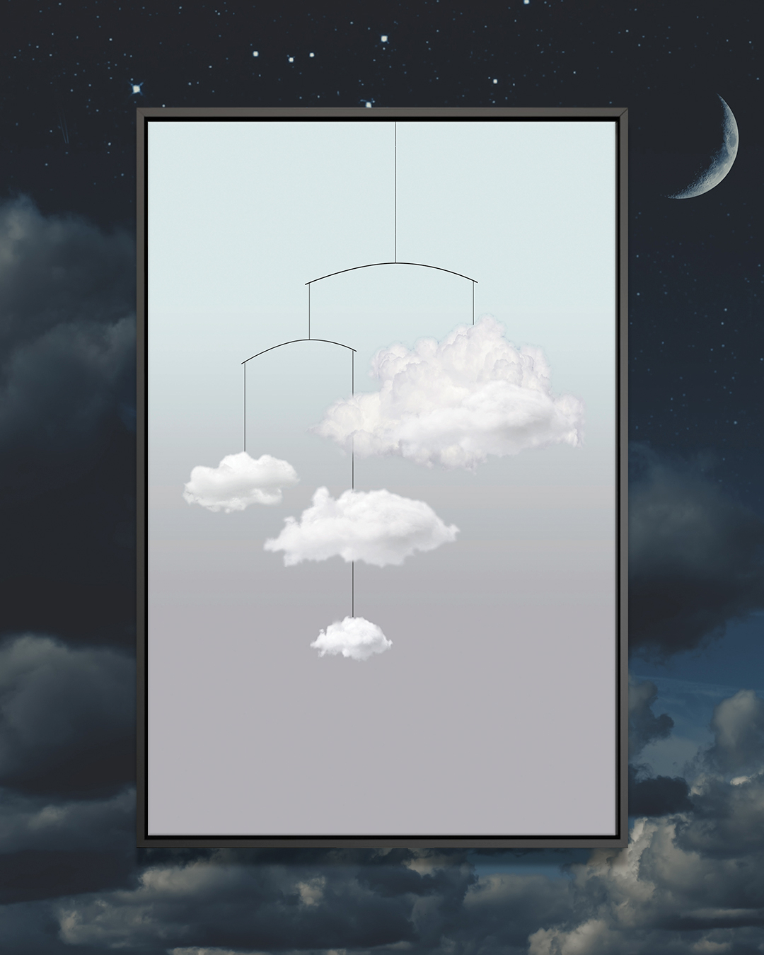 """""""Cloud Mobile"""" by Amy & Kurt Berlin shows four clouds hanging from a mobile against a blue and gray background."""