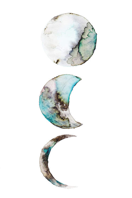 """""""Moon"""" by ANDA Design shows a full, waxing gibbous, and waning crescent moons stacked vertically upward with blue and gray marble-like texture within them."""