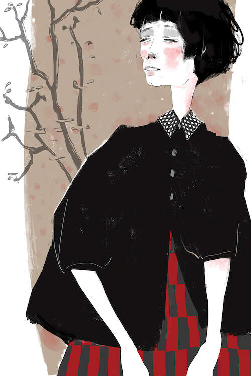 """Banality Of Life"" by Anikó Salamon shows a woman with rosy cheeks wearing a black jacket and red-checkered dress standing in front of a bare tree."