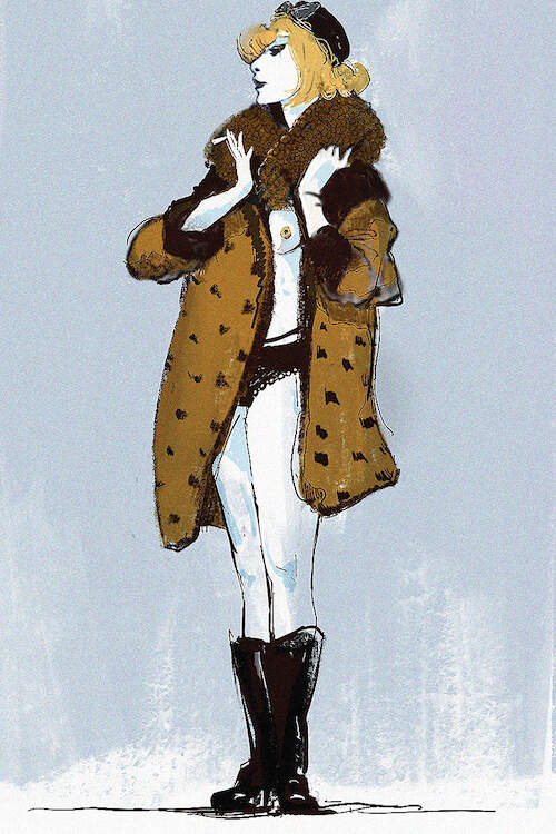 """Frivol"" by Anikó Salamon shows a blonde woman wearing black boots and a mustard and brown fur coat over her nude body."