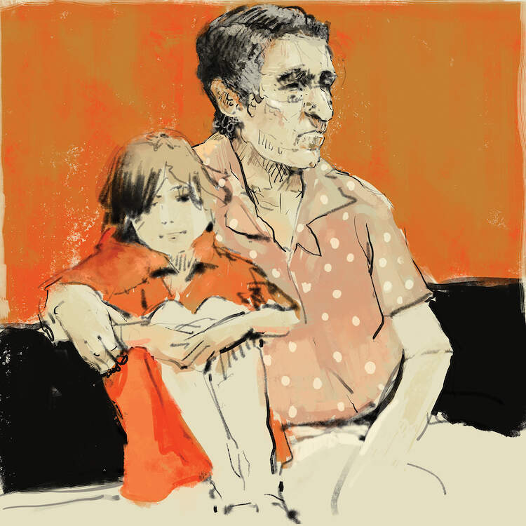 """Granddad"" by Anikó Salamon shows a man with gray hair wearing a salmon polka dot shirt with his arm wrapped around a young child in an orange dress."