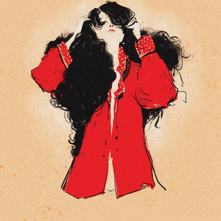 """Little Nude"" by Anikó Salamon shows a woman with long, curly black hair wearing a red blazer-style jacket."