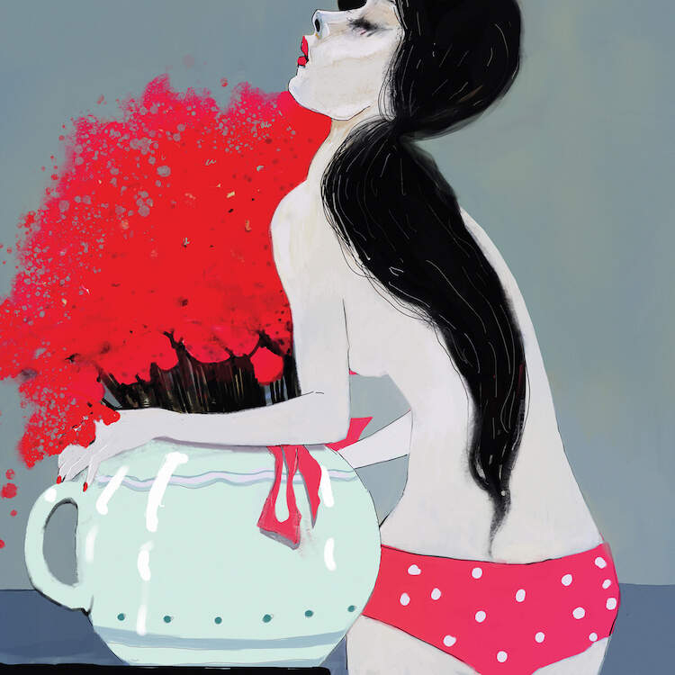 """Pink Bikini"" by Anikó Salamon shows a topless girl wearing pink polka dot bikini bottoms holding a pot full of bright red flowers."