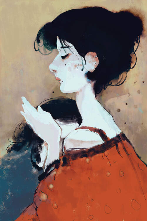 """Safeplace"" by Anikó Salamon shows a woman with an updo wearing an orange top hugging a child who is nuzzled into her neck."